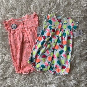 NWT CARTER'S Baby Girl Clothes Snap-Up Romper 9M